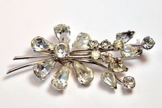 Art Deco marked Made in Austria ice clear crystal brooch flower from 1930's #Austria