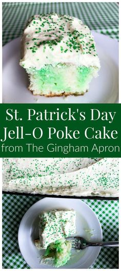 Patrick's (Jell-O Poke) Cake ) ) St. Patrick's DAy Jello-O Poke Cake- a refreshing, easy, and fun cake that's perfect for St. Not to mention- SO DELICIOUS! Poke Cake Jello, Poke Cake Recipes, Poke Cakes, Cupcake Cakes, Dessert Recipes, Lime Jello Cake Recipe, Sour Recipe, Jello Recipes, Baking Cupcakes