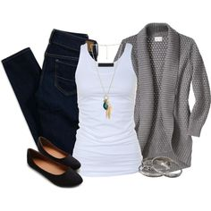 dark denim, white tank, comfy grey cardigan, flats