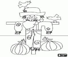 desenho de Um espantalho no outono para colorir