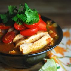 South by Southwest Chicken Soup - full of grilled chicken, veggies and spices - is a healthy, high-protein meal with big flavor. Paleo and gluten-free. Whole 30 Recipes, Clean Recipes, Paleo Recipes, Crockpot Recipes, Real Food Recipes, Paleo Chicken Soup, Paleo Soup, Grilled Chicken, Chicken Yakisoba