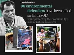 Govt & corporate leaders murdering environmentalists, wildlife rangers, natives, & activists trying to protect animal life & the environment. https://www.theguardian.com/environment/ng-interactive/2017/jul/13/the-defenders-tracker https://www.theguardian.com/environment/2014/apr/15/surge-deaths-environmental-activists-global-witness-report https://www.theguardian.com/world/2017/jan/31/honduras-environmental-activists-global-witness-violence-berta-caceres