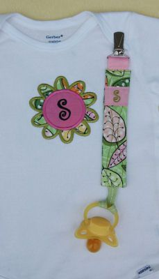 Monogram Pacifier Clips