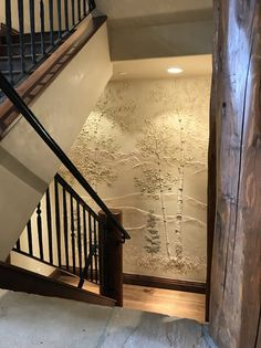 Original Art designed specifically for your wall. Good lighting will create the best shadow effect. Wall Art Wallpaper, Mural Wall Art, Diy Wall Art, Wall Art Decor, Murals, Staircase Wall Decor, Stair Walls, Stucco Walls, Diy Plaster