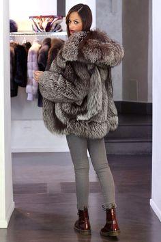 Silver Fox Fur Hooded Jacket