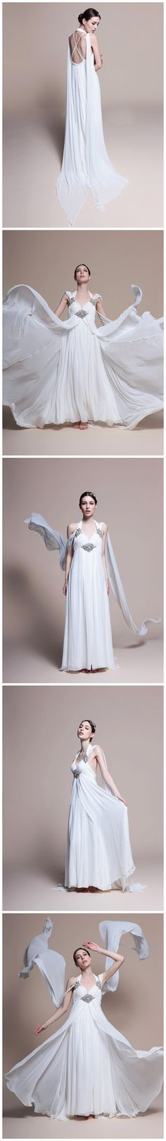 Flowly Halter Neck  Empire Waist Chiffon Wedding Dress