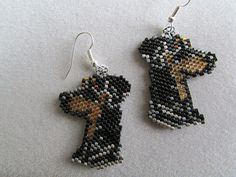 Beaded Doberman Pinscher Earrings by DsBeadedCrochetedEtc on Etsy, $20.00