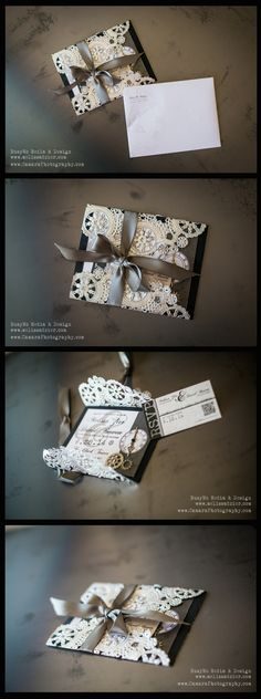 Vintage Wedding Invitation - Graphic Design by BusyMo Media & Design (be.net/melissadzier). Silver paper doilies, black cardstock, pearl white cardstock, silver clock gears and clock hands, silver ribbon, custom, ornate, couture, elegant, upscale, classy, RSVP card with QR code. Photo Credit: Camara Photography, LLC #vintage #custom #ornate #couture #elegant, #upscale #classy #RSVP #RSVPCard #WeddingInvitation #WeddingInvitations #Clocks #Steampunk