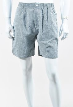 Maison Kitsune Men's Blue & White Seersucker Striped Shorts