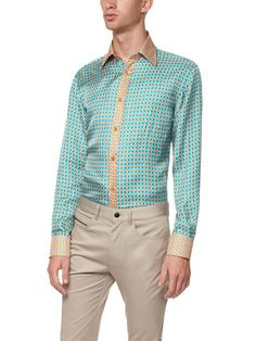 Two-Tone Houndstooth Shirt by Versace Collection