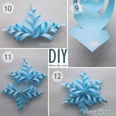 How to make paper snowflakes — The Best Ideas DIY, Crafts & Decor Projects - Paper Origami 💡 Diy Snowflake Decorations, Diy Christmas Snowflakes, 3d Paper Snowflakes, How To Make Snowflakes, Paper Christmas Decorations, Snowflake Craft, Christmas Paper Crafts, Paper Ornaments, Holiday Crafts