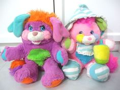 lot of 2 popples purple violet pink baby plush doll vintage 80s toy from $80.0