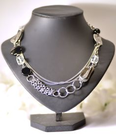 Short black and white necklace double row by BijouChantaleGelinas, $35.00