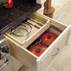 Base Multi Storage Drawer - love the slide back feature on the top of this kitchen cabinet drawer!