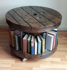 Rustic Reclaimed Wood Wire Reel Coffee Table Spool Bookshelf with Black Steel Pipe on Casters