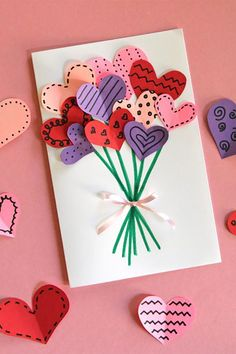 For holidays and birthdays, homemade cards are my favorite! With just a stack of colored paper, markers, and glue, my kids and are making these adorable bouquet of hearts cards for Valentine& Day. We will make some to share with. Valentine's Day Crafts For Kids, Valentine Crafts For Kids, Holiday Crafts, Diy And Crafts, Valentine Ideas, Homemade Valentines Day Cards, Card Crafts, Valentines Crafts For Kindergarten, Decor Crafts