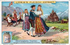 Liebig's meat - extract. Old Norwegian costumes. Springdans in Hallingdal, Stave Church in background (old wooden church). A strong tradition in Norway is the springdans (running dance) or springar, danced primarily in communities in western Norway and the fjord areas of west central Norway.
