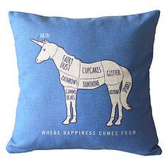 18 Square Unicorn Cotton/Linen Decorative Pillow Cover