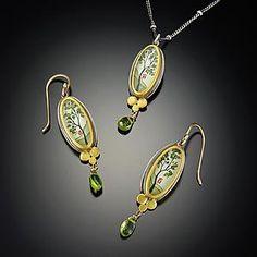Spring Maple Necklace with Peridot: Ananda Khalsa: Gold, Silver, & Stone Necklace | Artful Home