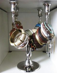 Candleholder bracelet storage will also be on my side of the closet