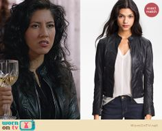 Rosa's perforated leather jacket on Brooklyn Nine-Nine. Outfit Details: http://wornontv.net/23406 #Brooklyn99