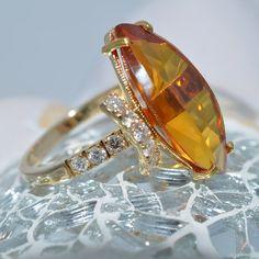 Orange Sapphire and Diamond Ring 18k and 24k Yellow Gold by JdotC, $850.00