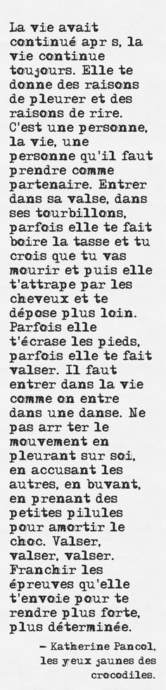 """Katherine Pancol """"Les yeux jaunes des crocodiles"""" French Words, French Quotes, Definition Of Happiness, Jolie Phrase, Father Quotes, Simple Quotes, Inspiring Things, Poetry Books, Picture Quotes"""