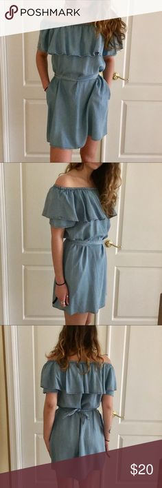 """Off Shoulder Ruffle Denim Dress This off the shoulder ruffle dress is adorable but it's just too big on me for my preference. Worn once. Great condition.   Model: 5'8"""" 125lbs, dress size 4-6 Size: Labeled as a medium but I'd call it a M/L. 30"""" from neck to hem. Ruffle is 8"""" long.  Fabric: 100% cotton Care: Hand wash cold. Hang dry. Mebon Dresses"""