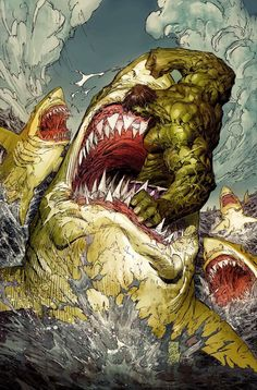 Hulk fighting hulk-sharks. Why isn't this a movie? by Marc Silvestri