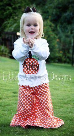 Girls Appliqued and Monogrammed Pumpkin by LilDarlingsDesigns, $23.00
