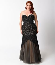 Plus Size Black   Nude Beaded Strapless Lace Gown for Prom 2018 875e2b90e8f8