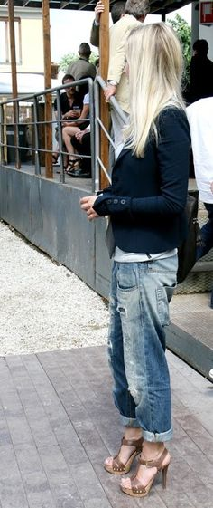 obsessed with old denim jeans. Jeans with casual heels. Perfect blond hair.