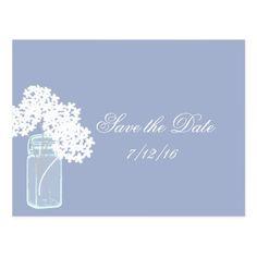 Mason Jar, White Hydrangea, Save the Date Postcard