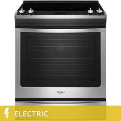 whirlpool 62cuft slidein electric range with fan convection in stainless steel