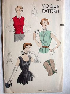 Vogue Blouse Pattern No 7168 Vintage 1950s by CaliforniaSunset