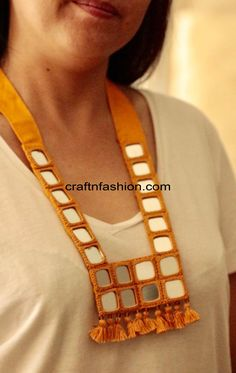 Crafts Of Gujarat is a Crafts Store in Ahmedabad offering Indian Handmade Handicraft Products, Vintage kantha Collection, intage Tribal Indian Costume jewelry. Diy Fabric Jewellery, Scarf Jewelry, Textile Jewelry, Bead Jewellery, Navratri Special, Bead Embroidery Patterns, Fabric Necklace, Handmade Jewelry Designs, Neck Piece