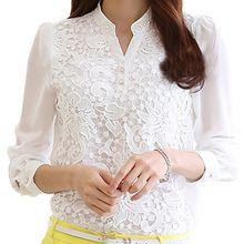BISM Hot 2016 Nova Chegada Blusa de Renda Beading Crochet Renda Branca Chiffon de Manga Comprida Camisa Feminina(China (Mainland))