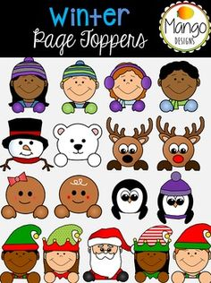 31 PNG images (in both color and black-and-white).These page toppers are perfect for winter activities, crafts, and they help finish off any project by peeking over the top of the page! Images Included:4 winter kids1 snowmanPolar Bear2 Reindeer2 PenguinsSantaA gingerbread boy and a gingerbread girl4 elves ******************************************************************If you like this product, you'll LOVE these:Christmas Clip ArtWinter Clip ArtFree Penguin Clip ArtWinter Digital…