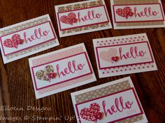 Hello Love note card set made with Love Blossoms DSP Stack and Hello (Exclusive Sale-a-Bration stamp set, available only for a limited time) from Stampin' Up!