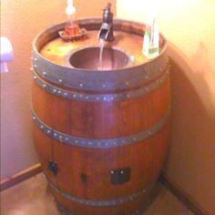Wine barrel sink for half-bath! Whiskey Barrel Sink, Bathroom Sink Bowls, Cutting Board Material, Wine Barrel Furniture, Cabin Bathrooms, Glass Sink, Sink Design, Wine Decor, Massage Room