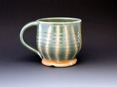 Striped Green Woodfired Mug/Cup by suepariseaupottery on Etsy, $25.00