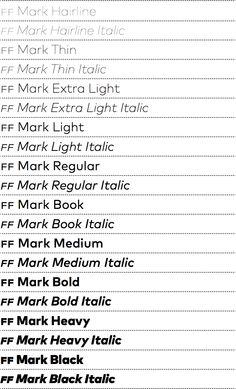 FF Mark http://www.fontshop.com/fonts/family/ff_mark/ ist eine neue geometrische Sans, entworfen für die typografischen Herausforderungen von heute. Die Großfamilie bietet 10 Strichstärken (von Hairline bis Black) und die dazugehörigen Kursiven (= 20 Fonts), wobei die extremen Schnitte für den Einsatz in Headlines optimiert, und die mittleren auf Textleserlichkeit getrimmt wurden + + + FF Mark-Macher sind: Hannes von Döhren, Christoph Koeberlin & das FontFont-Technik-Team mit Erik…