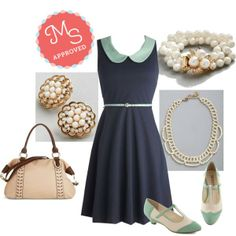 Care to Dance? Wedge in Mint, Work to Play Dress in Navy, Destined to Dream Necklace, Give it a Pearl Bracelet, Beige to Differ Bag, Lustrous Clusters Earrings    #pearls #peterpancollar #wedges