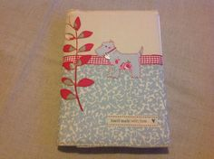 'Little Dog' removable note book cover in muted nostalgic prints by 'Love Sewing'.