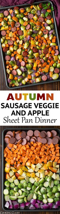 Sausage Veggie and Apple Sheet Pan Dinner - is the perfect way to use those seasonal veggies and herbs. It's an easy recipe to throw together and it has the perfect fall flavors. #sheetpan #sausage #recipe #fall #dinner