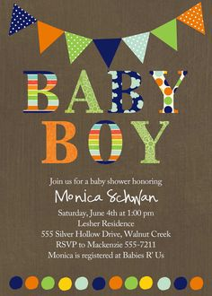 baby boy shower invitation with banner and polka by katiedidesigns, $13.00