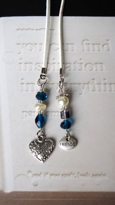 Friendsip Bookmark - Handmade Book mark for Books - Silver Heart Love Charm with Blue beads, Beaded bookmark, Book thong Beaded Bookmarks, Diy Bookmarks, How To Make Bookmarks, Ribbon Bookmarks, Corner Bookmarks, Bead Crafts, Jewelry Crafts, Homemade Bookmarks, Book Markers
