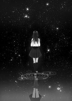 grafika anime, manga, and stars Manga Girl, Manga Anime, Anime Art, Sad Anime Girl, Anime Girls, Anime Triste, Dark Anime, Anime Negra, Photo Manga
