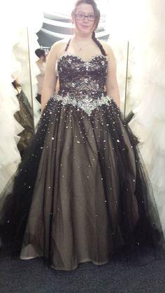 black & beige ball gown