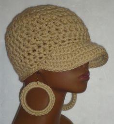 Oatmeal Chunky Baseball Cap Hat with Hoop Earrings by Razonda Lee Razondalee